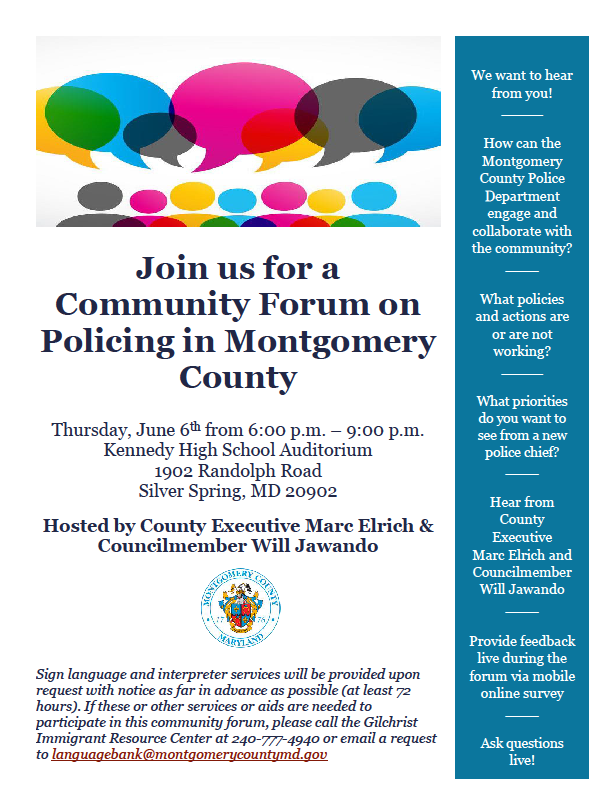 Community Forum on Policing in Montgomery County – Nonprofit